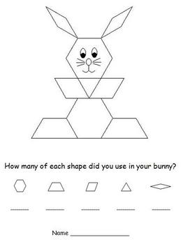 Easter Pattern Block Puzzles - Bunny and Easter Egg