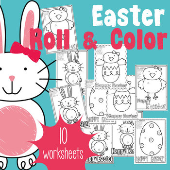 Easter Roll & Color Worksheets - Color by Number + Adding