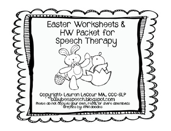 Easter Worksheet/HW Packet for Speech Therapy