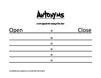 Easy Antonyms Worksheet