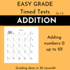 Easy Grade Time Tests: Addition