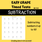 Easy Grade Time Tests: Subtraction