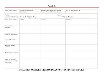 Easy Lesson Planning Form for Multi-Class Preps