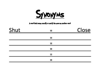 Easy Synonyms Worksheet