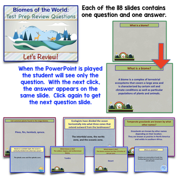 Ecology: Biomes Review PowerPoint / Questions and Answers
