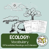 Ecology Vocabulary Reading: Differentiated for ALL Levels