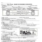 Economics - Basic Concepts Note Sheet