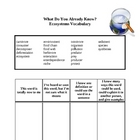 Ecosystems Environments Vocabulary Activity--Prior Knowledge/Quiz