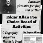 Edgar Allan Poe Choice Board of Activities - Common Core Aligned