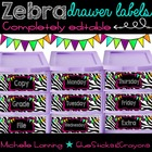 Editable Bright Zebra drawer labels