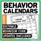 Editable Behavior Calendars: 2013-2014 School Year