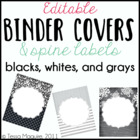 Editable Binder Covers: Black, White, and Grays
