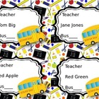 Editable Bus Tags with Bus and School Supply Art
