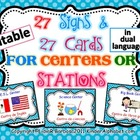 Editable Center Signs- Dual Language