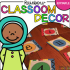 Editable Classroom Decor Set - Rainbow