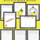 Editable Classroom Pet Packet ~ Bird with Scribble Black Border