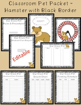 Editable Classroom Pet Packet ~ Hamster with Scribble Blac