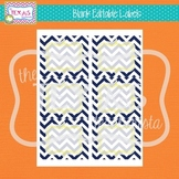 Editable Labels - Navy Chevron, Yellow Frame
