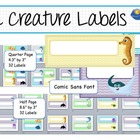 Editable Labels in Two Sizes - Sea Creature Designs