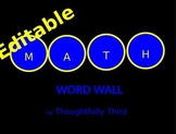 Editable Math Word Wall by Thoughtfully Third