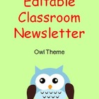 Editable Owl Theme Classroom Newsletter