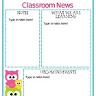 Editable Owl Themed Newsletter