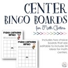 {Editable PDF} Math Center Bingo Boards