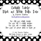 Editable Polka Dot Labels: Black