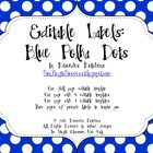 Editable Polka Dot Labels: Blue
