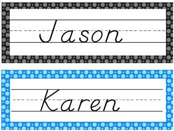 Editable Polkadot Nametags Desktags and Classroom Labels