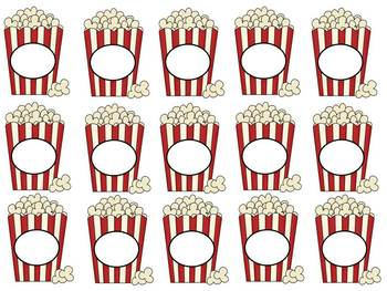 Editable Popcorn Theme Pencil and Baggie Toppers
