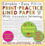 Editable Print-Practice Paper - Autumn Theme