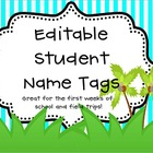 Editable Student Name Tags