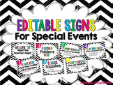 Editable Table Signs Chevron