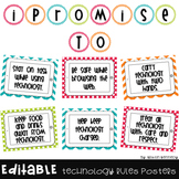{Editable} Technology Expectations Posters in Bright Chevr