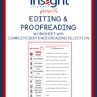 Editing Proofreading Worksheet with Complete Sentences Passage