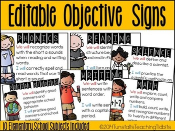 Editable Objective Signs