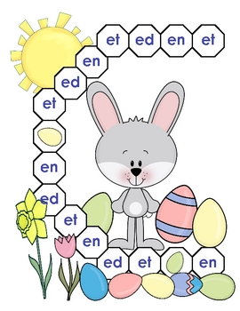 Egg Hunt - Ed, En, and Et Word Family File Folder Game