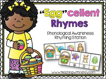 """Egg""cellent Rhymes (phonological awareness rhyming station)"