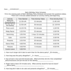 Elapsed Time - Bob&#039;s Birthday Worksheet