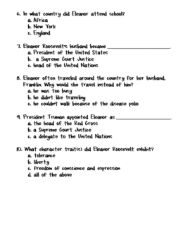 Eleanor Roosevelt Quiz/Worksheet