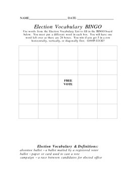 Election Vocabulary BINGO Board and Vocabulary List