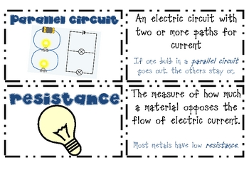 Electricity & Magnetism Vocabulary Cards
