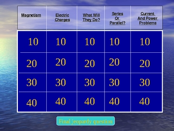 Electricity and Magnetism Jeopardy General Science