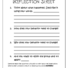 Elementary Behavior & Expectations Reflection Sheet