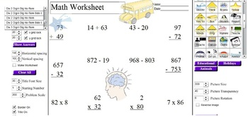 Elementary Math Worksheet Generator/Graphics Template Creator