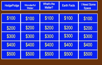 Elementary Science Jeopardy