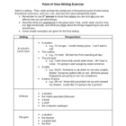 Elements of Fiction: Point of View Writing Exercise