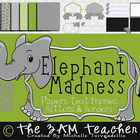 Elephant Madness Clip Art  (Papers, Text Frames, Borders & More)