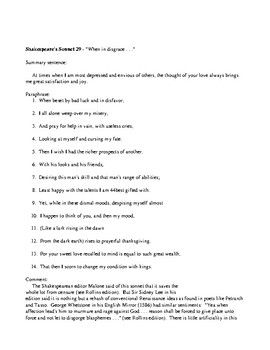 Elizabethan Sonnet Bundle (Assignment +test)